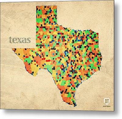 Texas Map Crystalized Counties On Worn Canvas By Design Turnpike Metal Print by Design Turnpike