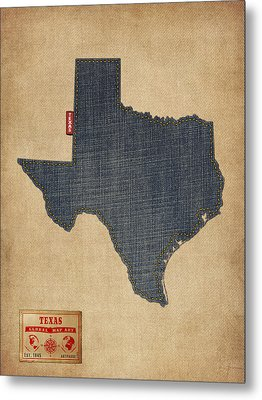 Texas Map Denim Jeans Style Metal Print by Michael Tompsett