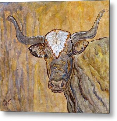 Metal Print featuring the painting Texas O Texas Longhorn by Ella Kaye Dickey