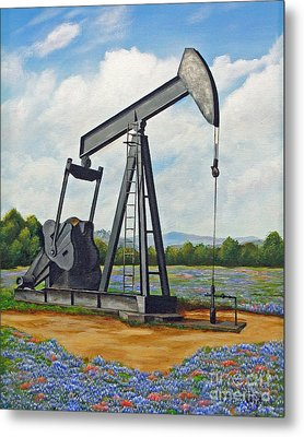 Metal Print featuring the painting Texas Oil Well by Jimmie Bartlett
