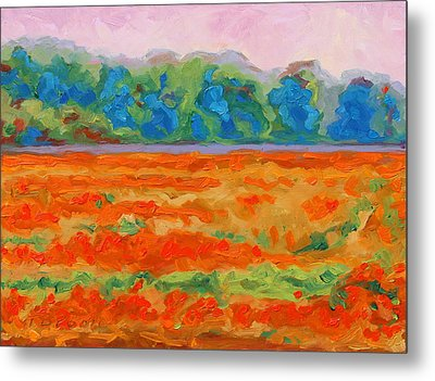 Texas Paintbrush Spring Flowers Oil Painting Bertram Poole Metal Print by Thomas Bertram POOLE