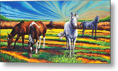 Metal Print featuring the painting Texas Quarter Horses by Greg Skrtic