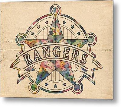 Texas Rangers Poster Art Metal Print by Florian Rodarte