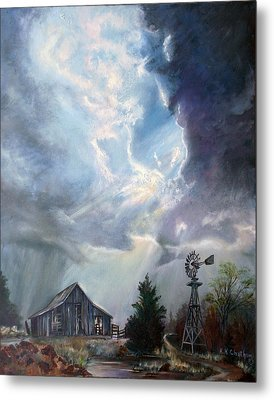 Metal Print featuring the painting Texas Thunderstorm by Karen Kennedy Chatham