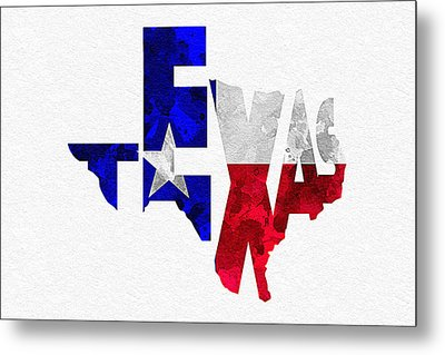 Texas Typographic Map Flag Metal Print by Ayse Deniz