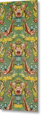Textile With A Repeating Floral Motif, Lyon Workshop, Circa 1730 Silk Brocade Metal Print