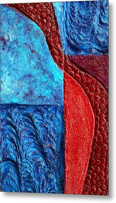 Texture And Color Bas-relief Sculpture #4 Metal Print
