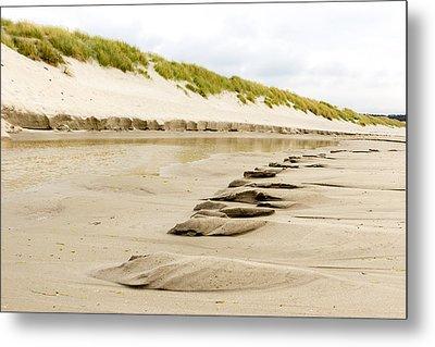 Texture Of Wet Sand After Waves Metal Print by Aldona Pivoriene
