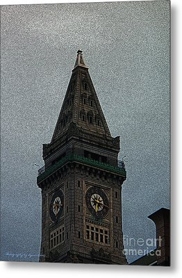 Metal Print featuring the photograph Textured Church Steeple  by Gena Weiser