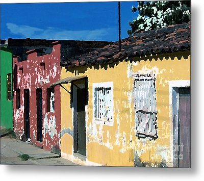 Textured - City In Mexico Metal Print by Gena Weiser