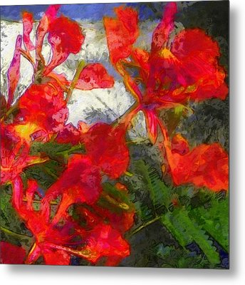 Textured Flamboyant Flowers - Square Metal Print