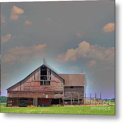 Metal Print featuring the photograph Textured - Grey Barn by Gena Weiser