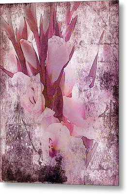 Metal Print featuring the photograph Textured Pink Gladiolas by Sandra Foster