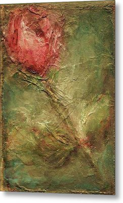 Metal Print featuring the painting Textured Rose Art by Mary Wolf