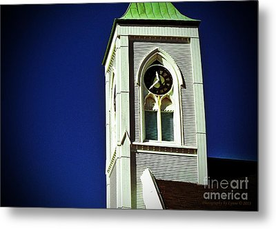 Metal Print featuring the photograph Textured Steeple Clock by Gena Weiser