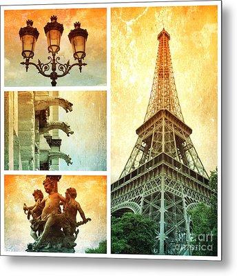 Textures Of Paris Collage Metal Print by Carol Groenen