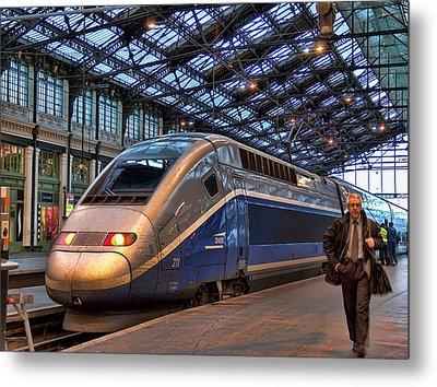 Tgv At The Train Station  Metal Print by Paris  France