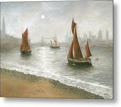 Thames Barges By Tower Bridge London Metal Print by Eric Bellis