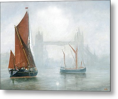 Thames Barges In Morning Mist Metal Print by Eric Bellis