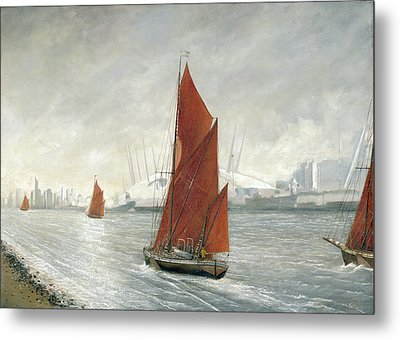 Thames Barges Passing The 02 Arena London Metal Print by Eric Bellis