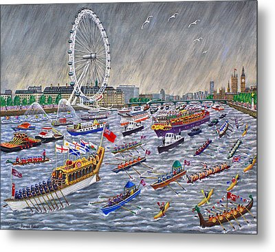 Thames Diamond Jubilee Pageant  Metal Print by Ronald Haber