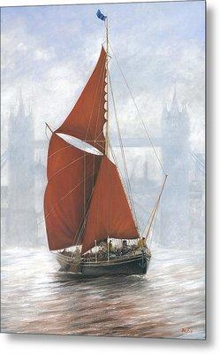 Thames Sailing Barge By Tower Bridge London Metal Print by Eric Bellis