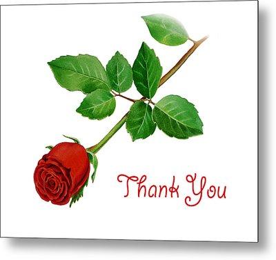 Thank You Card Red Rose Metal Print by Irina Sztukowski