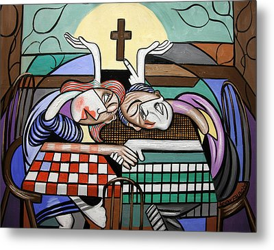 Thank You Jesus When Two Or More Are Gathered Metal Print by Anthony Falbo