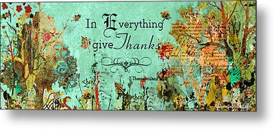 Thanksgiving Autumn Themed Inspirational Plaque Metal Print by Janelle Nichol