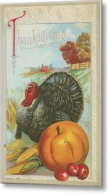 Thanksgiving Postcards I Metal Print