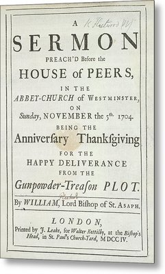 Thanksgiving Sermon Metal Print by British Library