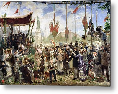 The 14th July 1880, 1882 Oil On Canvas Metal Print by Alfred Roll