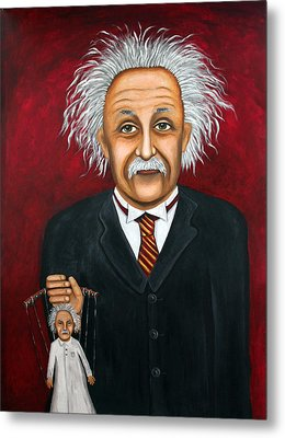 The 2 Einstein's Metal Print by Leah Saulnier The Painting Maniac