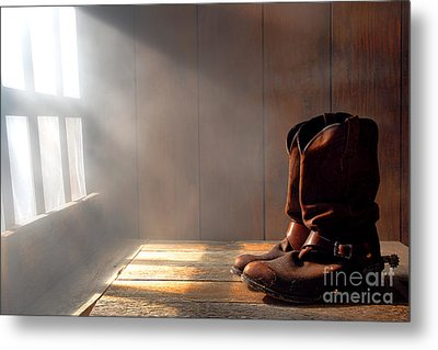 The Abandoned Boots  Metal Print by Olivier Le Queinec