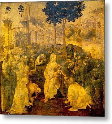 The Adoration Of The Magi Metal Print by Leonardo Da Vinci
