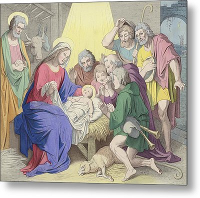 The Adoration Of The Shepherds Metal Print by German School