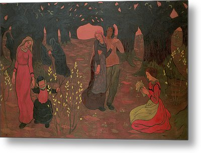The Ages Of Life, 1892 Oil On Canvas Metal Print by Georges Lacombe