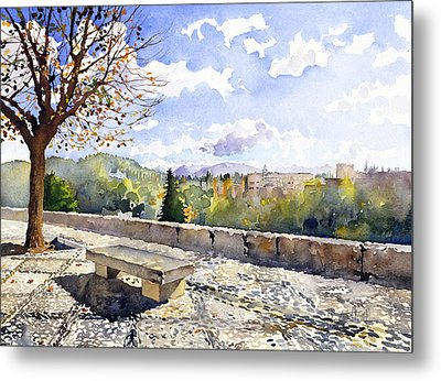 The Alhambra In Autumn Metal Print by Margaret Merry