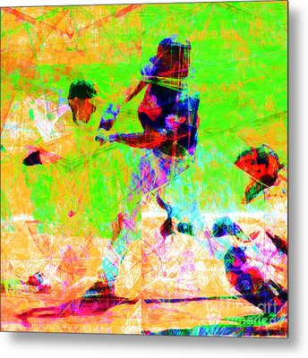 The All American Pastime 20140501 Square Metal Print by Wingsdomain Art and Photography