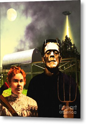The American Gothic Abduction Of Frank And Liz By Visitors From Mars Dsc912 Metal Print by Wingsdomain Art and Photography