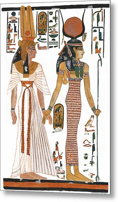 The Ancient Egyptian Goddess Isis Leading Queen Nefertari Metal Print by Ben  Morales-Correa