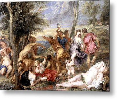 The Andrians A Free Copy After Titian Metal Print by Peter Paul Rubens