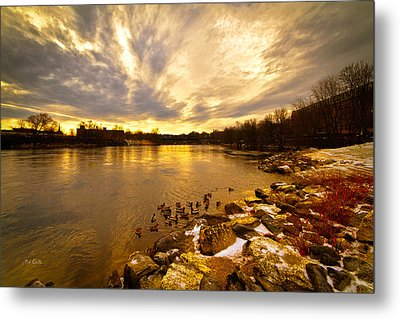 The Androscoggin River Between Lewiston And Auburn Metal Print