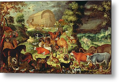The Animals Entering The Ark Metal Print by Jacob II Savery