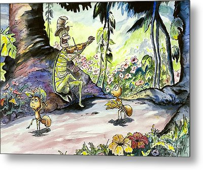 The Ant And The Grasshopper Metal Print