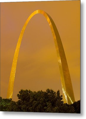 The Arch In The Glow Of St Louis City Lights At Night Metal Print by Garry McMichael