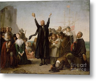 The Arrival Of The Pilgrim Fathers Metal Print by Antonio Gisbert