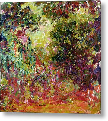 The Artists House From The Rose Garden Metal Print by Claude Monet
