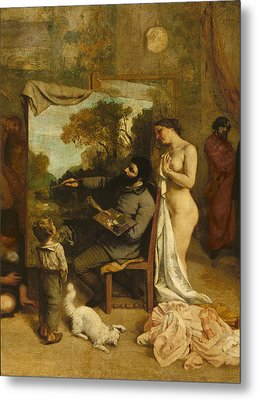 The Artists Studio, A Real Allegory, Detail Of The Painter And His Model, 1854-55 Oil On Canvas Metal Print by Gustave Courbet