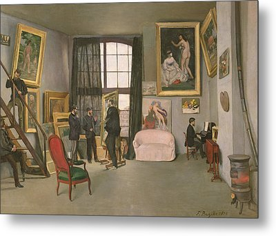 The Artist's Studio Metal Print by Jean Frederic Bazille
